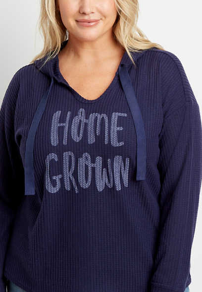 Plus Size Navy Homegrown Waffle Knit Hoodie
