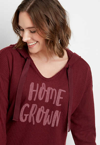 Maroon Homegrown Waffle Knit Hoodie