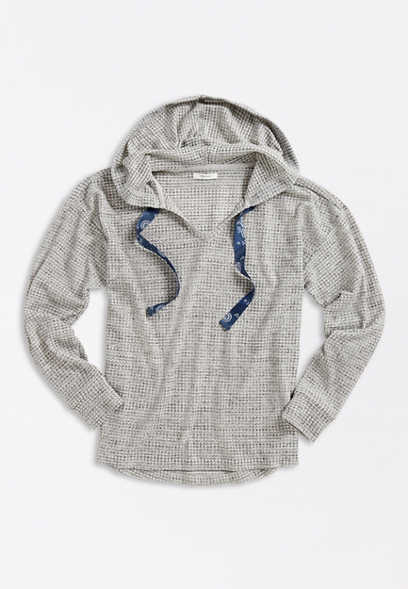 Plus Size Solid Gray Waffle Knit Hoodie