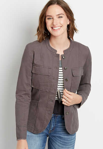 Solid Button Front Military Jacket