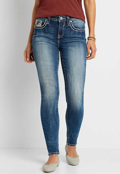 Vigoss® High Rise Medium Gold Stitch Skinny Jean