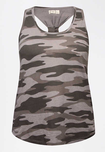 Plus Size 24/7 Gray Camo Knotted Back Tank Top