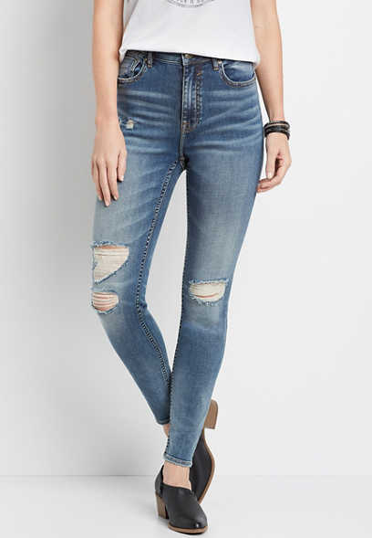 Vigoss® High Rise Medium Destructed Skinny Jean