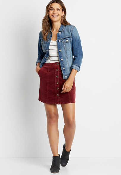 Red High Rise Corduroy Button Front Skirt