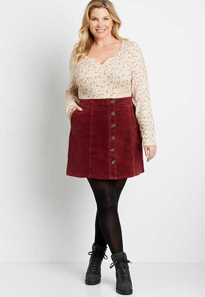 Plus Size Red High Rise Corduroy Button Front Skirt