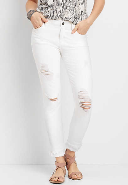 KanCan™ White Destructed Fray Hem Skinny Jean