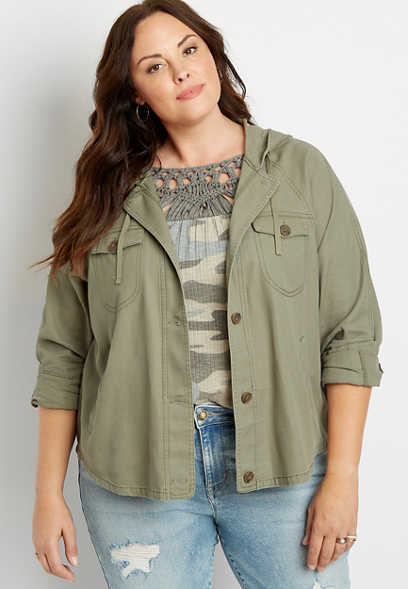Plus Size Solid Lightweight Hooded Jacket