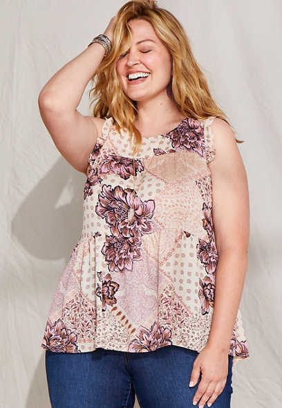 Plus Size Patchwork Floral Babydoll Tank Top