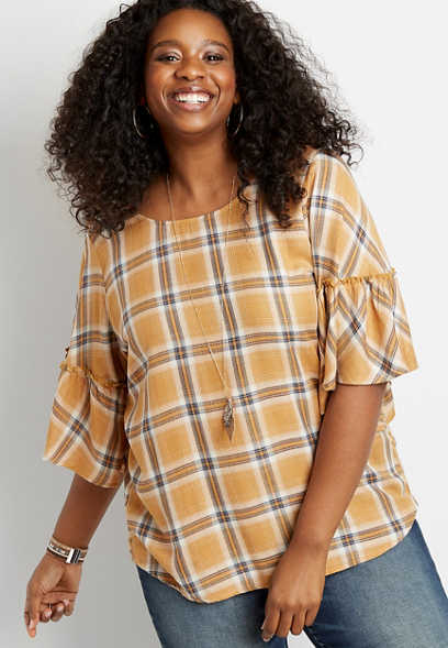 Plus Size Plaid Bell Sleeve Top