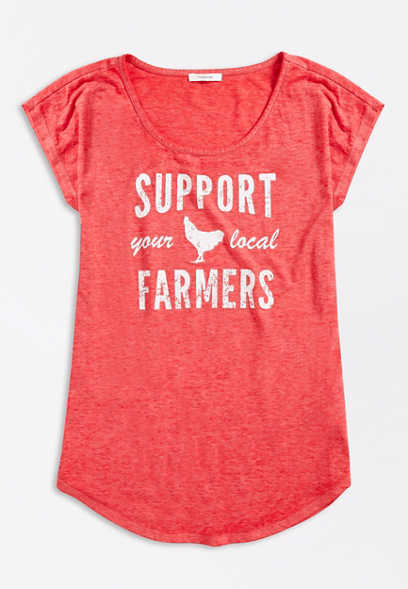 Plus Size Red Support Local Farmers Graphic Tee