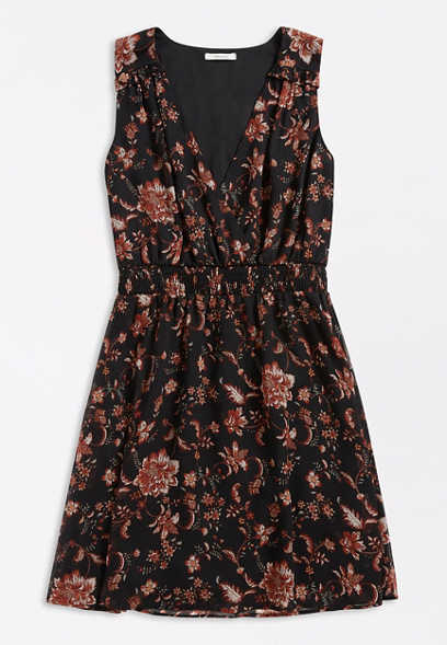 Black Floral V Neck Mini Dress