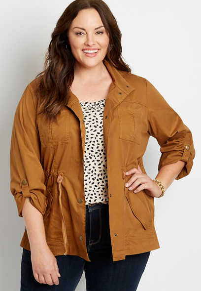 Plus Size Solid Drawcord Waist Hooded Anorak Jacket