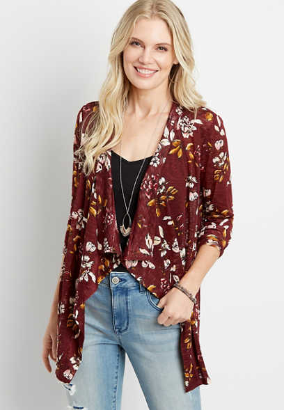 Red Floral Crochet Back Open Front Cardigan