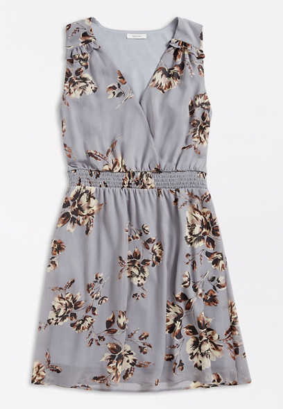 Gray Floral V Neck Mini Dress