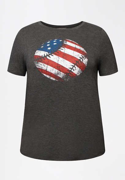 Plus Size American Flag Baseball Graphic Tee