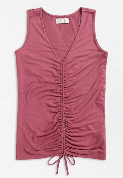 24/7 Solid Ruched Front Tank Top