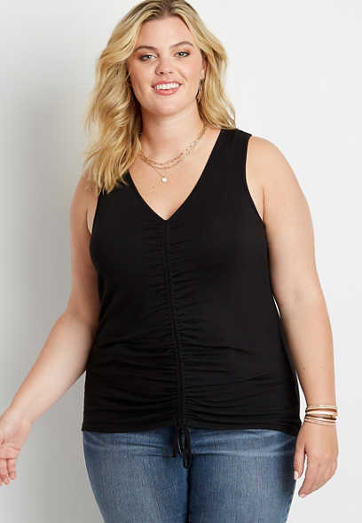 Plus Size 24/7 Solid Ruched Front Tank Top