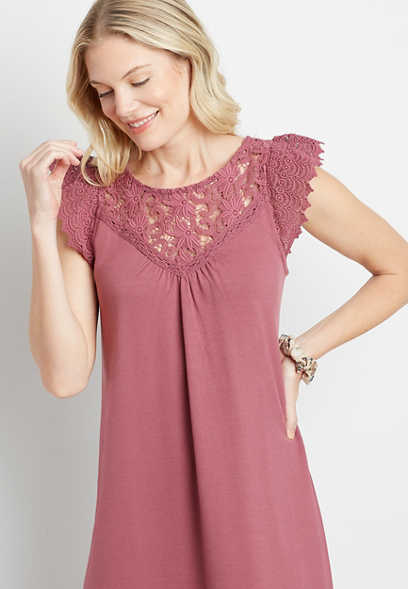 Magenta Crochet Sleeve Shift Dress