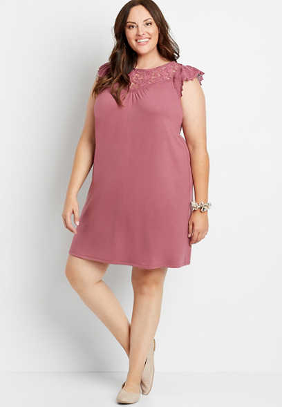 Plus Size Magenta Crochet Sleeve Shift Dress