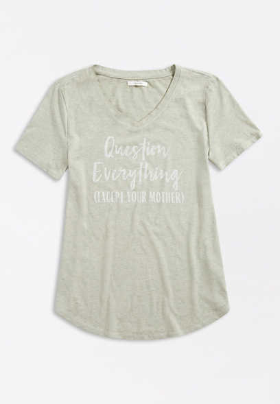 Question Everything V Neck Graphic Tee