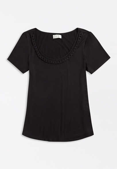 Plus Size 24/7 Solid Braided Neck Tee