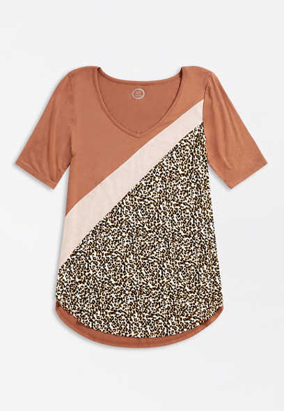 24/7 Flawless Diagonal Leopard Colorblock Tee