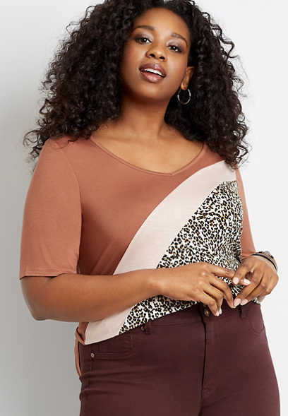 Plus Size 24/7 Flawless Diagonal Leopard Colorblock Tee
