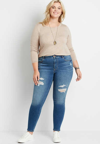 Plus Size DenimFlex™ High Rise Medium Tinted Destructed Jegging