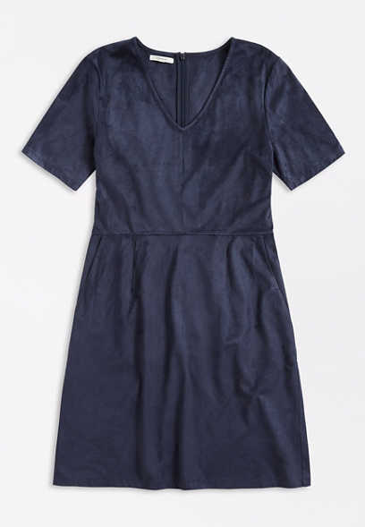 Navy Faux Suede Mini Dress