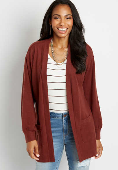 Solid Brown Open Front Cardigan