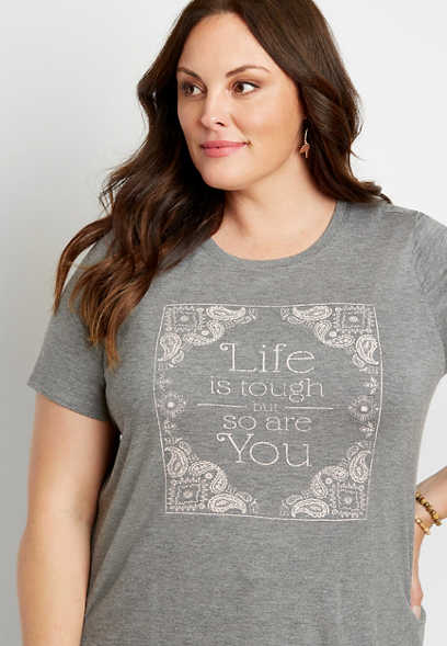 Plus Size Heather Gray Life Is Tough Graphic Tee