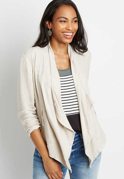 Solid Cascade Open Front Jacket
