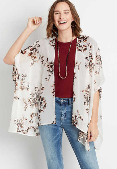 White Floral Print Open Front Ruana