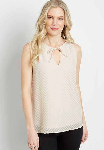 Chevron Halter Keyhole Neck Tank Top