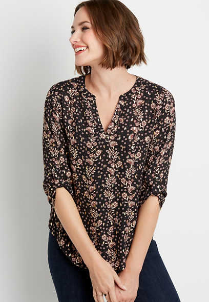 Black Floral V Neck Popover Blouse