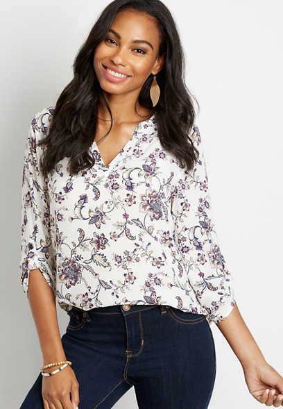 White Floral V Neck Popover Blouse