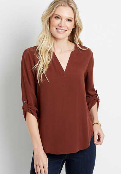 Solid Rust V Neck Popover Blouse