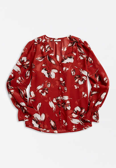 Red Floral Button Front Bell Sleeve Blouse
