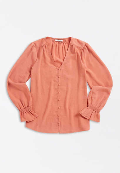 Pink Button Front Bell Sleeve Blouse