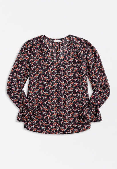Ditsy Floral Button Front Bell Sleeve Blouse