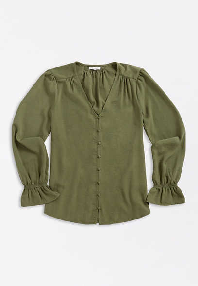 Olive Button Front Bell Sleeve Blouse