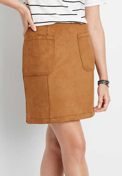 High Rise Faux Suede Skirt