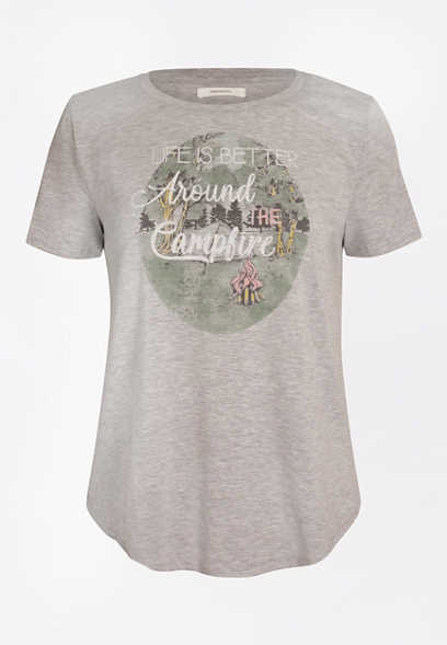 Heather Gray Better Around the Campfire Graphic Tee