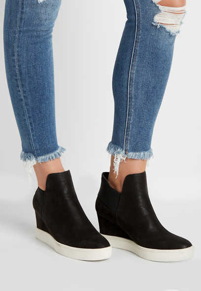 Tia Black Sneaker Wedge