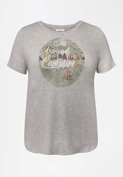 Plus Size Heather Gray Better Around the Campfire Graphic Tee