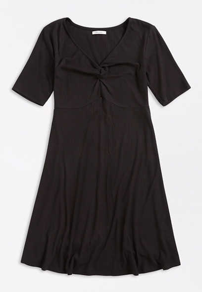 Plus Size Black Knotted Neck Mini Dress