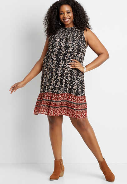 Plus Size Metallic Floral Smocked Neck Mini Shift Dress