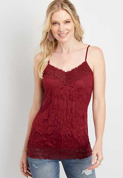 Maurices Solid Lace Crinkle Cami