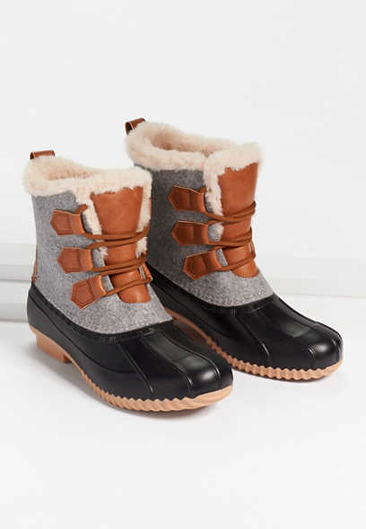 Jamie Faux Fur Lined Lace Up Duck Boot