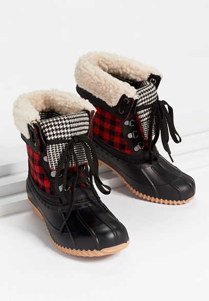 Jenna Buffalo Plaid Fold Over Duck Boot